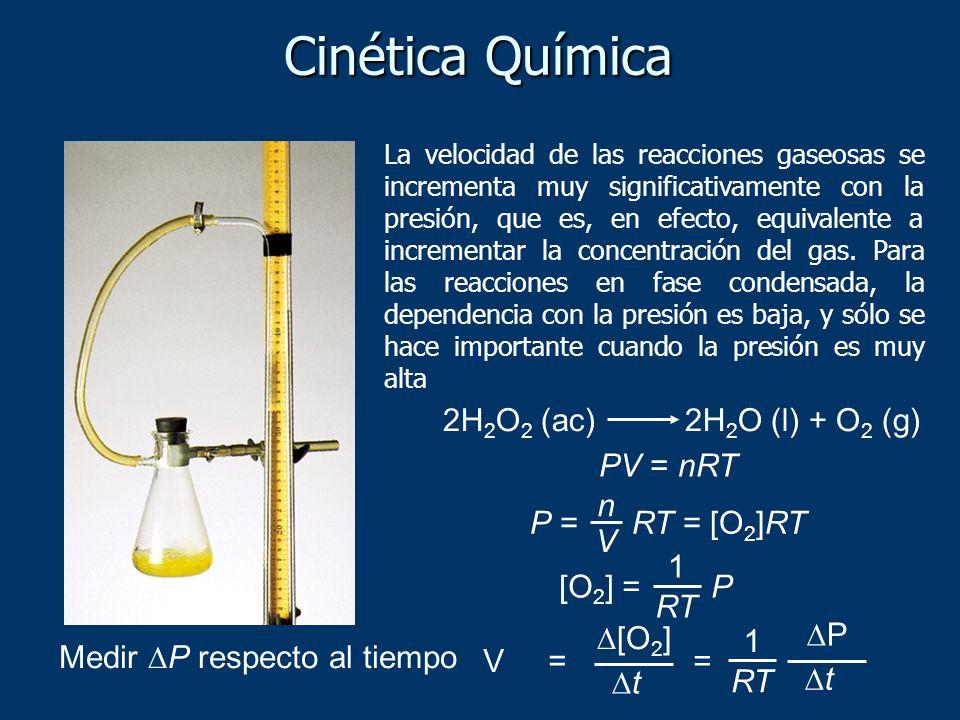 Cinética Química 2H2O2 (ac) 2H2O (l) + O2 (g) PV = nRT P = RT = [O2]RT